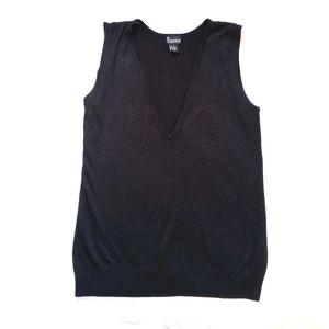 NY Collection Black V-Neck Sweater Vest